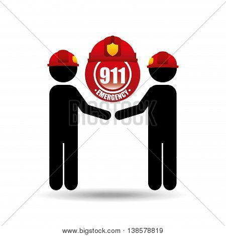 two firefighter job with helment icon, vector illustration