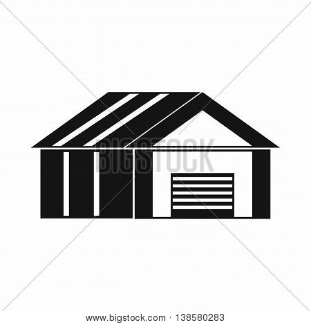 Garage with automatic gate icon in simple style. Building symbol isolated vector illustration