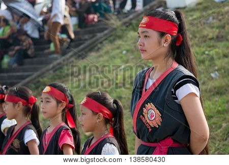 HAI DUONG, VIETNAM, February 17, 2016 portraits, martial arts groups, traditional martial arts performances, celebrate military victory Nguyen Mong, home of Tran Hung Dao Dai Vuong. 13th century, Hai Duong