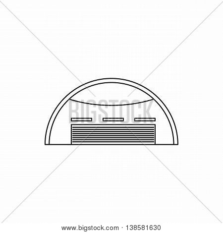 Round barn icon in outline style. Building symbol isolated vector illustration