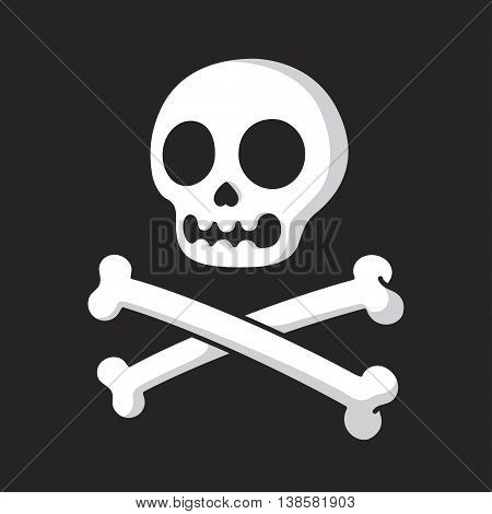 Simple cartoon skull and crossbones on a black background. Modern comic style vector illustration.