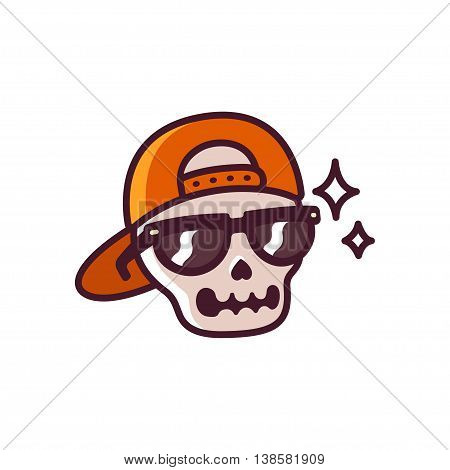 Cool cartoon skull with sunglasses and backwards cap funny simple comic style illustration.