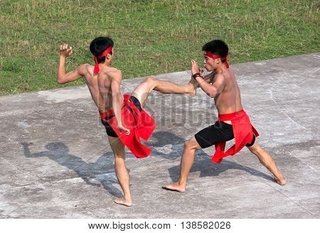 HAI DUONG, VIETNAM, February 17, 2016 youth group, traditional martial arts performances, celebrate military victory Nguyen Mong, home of Tran Hung Dao Dai Vuong. 13th century, Hai Duong