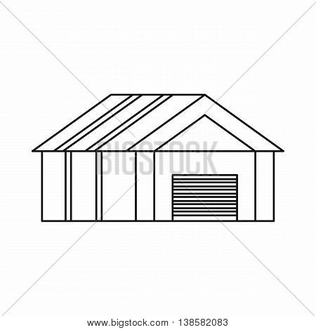 Garage with automatic gate icon in outline style. Building symbol isolated vector illustration