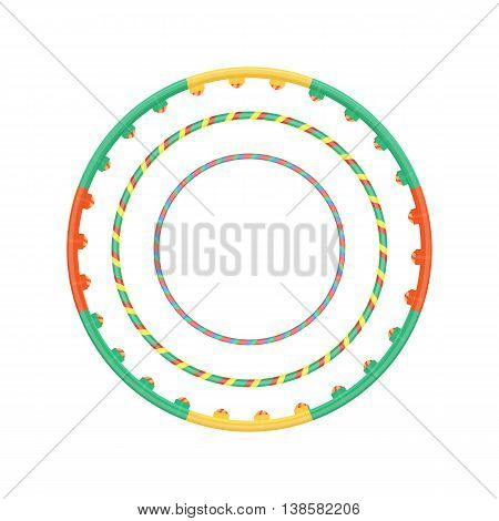 Multicolor vector plastic hula hoop set vector illustration isolated on a white background