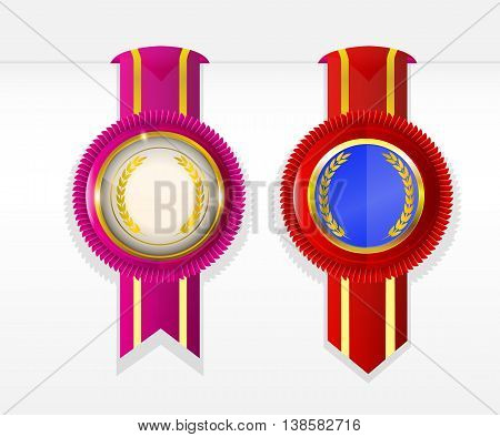 blank rosette badge banner with ribbon attached to paper