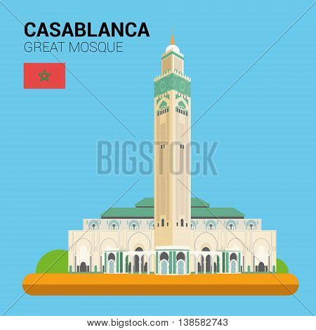 Monuments and landmarks Vector Collection: Great Mosque of Casablanca. Descripción: Vector illustration of Great Mosque of Casablanca (Casablanca, Morocco). Monuments and landmarks Collection. EPS 10 file compatible and editable.