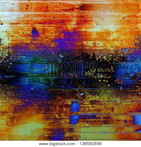Old school frame or background with grungy textured elements and different color patterns: yellow (beige); black; green; blue; red (orange); purple (violet)