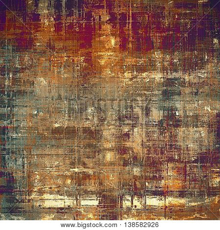 Art grunge texture for creative design or scrap-book. With vintage style decor and different color patterns: yellow (beige); brown; cyan; red (orange); purple (violet); pink