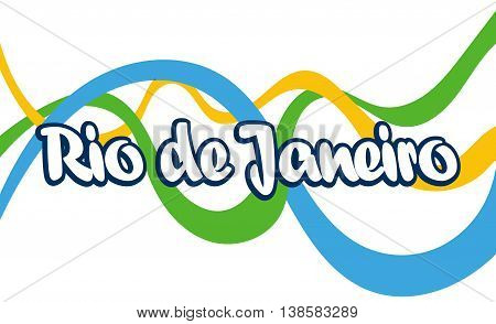Abstract Rio de Janeiro logo with national flag color lines over white background. Digital vector image.