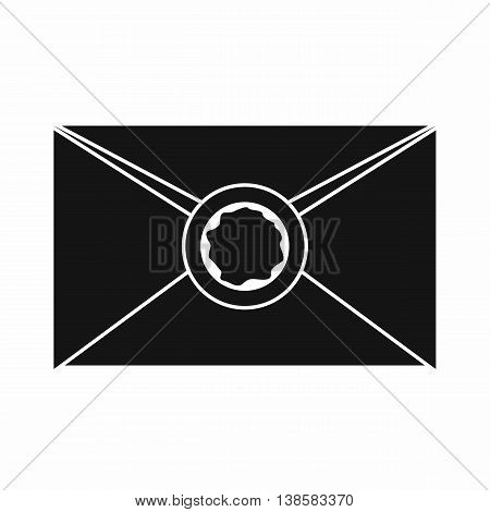 Envelope with red wax seal icon in simple style isolated vector illustration