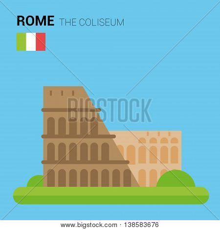 Monuments and landmarks Vector Collection: The Coliseum. Descripción: Vector illustration of The Coliseum (Rome, Italy). Monuments and landmarks Collection. EPS 10 file compatible and editable.