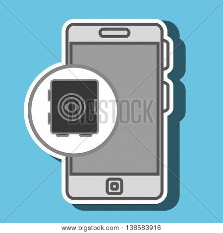 smartphone and safe box isolated icon design, vector illustration  graphic