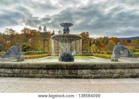 Fountain in the rose garden. Baden Baden. Germany. Toned image