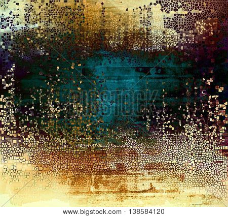 Distressed grunge texture, damaged vintage background with different color patterns: yellow (beige); brown; black; green; blue; pink