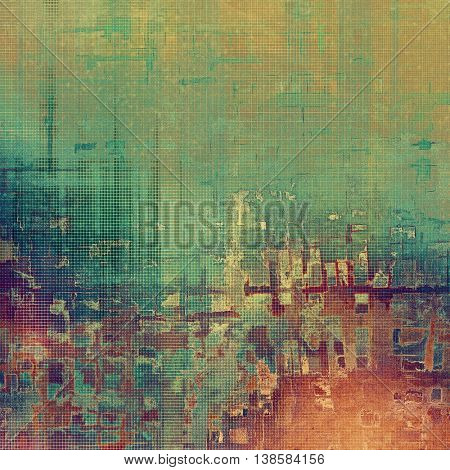 Art grunge background or vintage style texture with retro graphic elements and different color patterns: yellow (beige); brown; green; blue; red (orange); purple (violet)