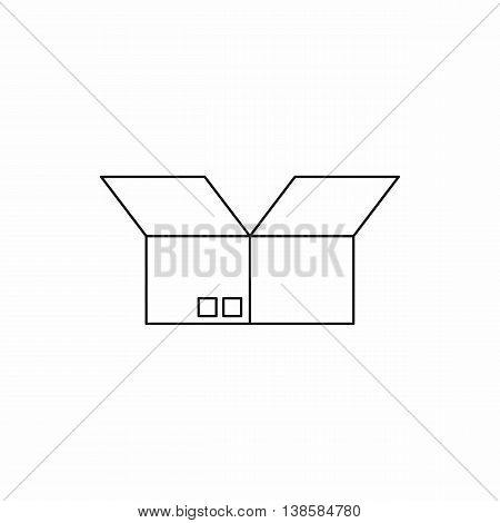 Opened cardboard box icon in outline style isolated vector illustration