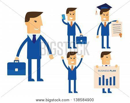 Businessman isolated vector set illustration eps 10