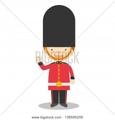 Character from England. Royal Guard boy dressed in the traditional way Vector Illustration. Kids of the World Collection.