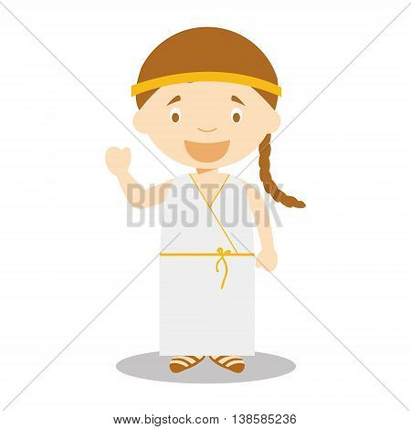 Character from Greece dressed in the traditional way of the Classical Greece. Vector Illustration. Kids of the World Collection.