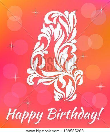 Bright Greeting Card Invitation Template. Celebrating 4 Years Birthday. Decorative Font With Swirls