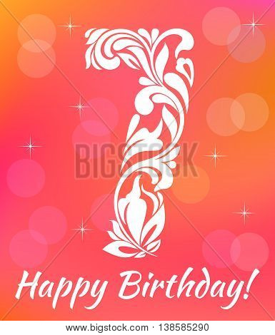 Bright Greeting Card Invitation Template. Celebrating 7 Years Birthday. Decorative Font With Swirls