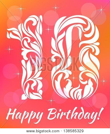 Bright Greeting Card Invitation Template. Celebrating 10 Years Birthday. Decorative Font With Swirls