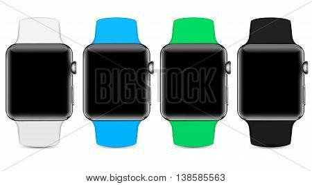 Four colors of smart watches - snowy white, sky blue, apple green and night black, blank screen mockup - vector eps 10 illustration
