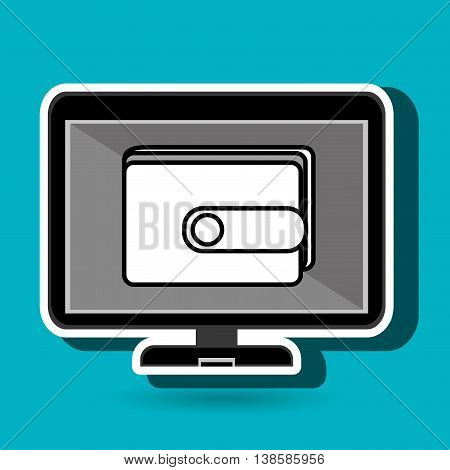 laptop with wallet isolated icon design, vector illustration  graphic