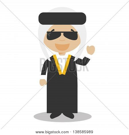 Character from Iraq or Persia dressed in the traditional way Vector Illustration. Kids of the World Collection.