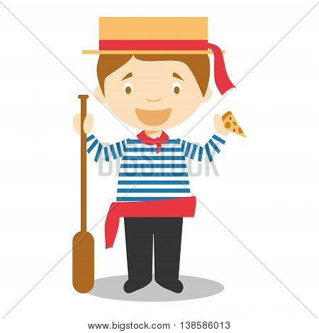 Character from Italy dressed in the traditional way as a Venice gondolier eating pizza. Vector Illustration. Kids of the World Collection.