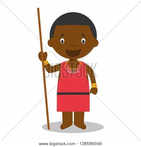 Character from Kenya dressed in the traditional way of the Masai tribe. Vector Illustration. Kids of the World Collection.