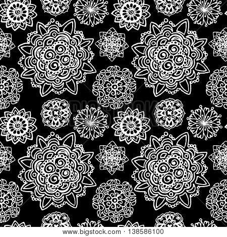 Black white monochrome circle mandala doodle vector pattern background texture