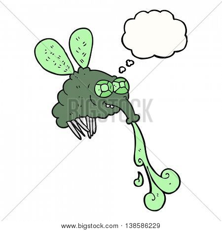 freehand drawn thought bubble cartoon gross fly