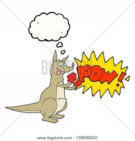 freehand drawn thought bubble cartoon boxing kangaroo