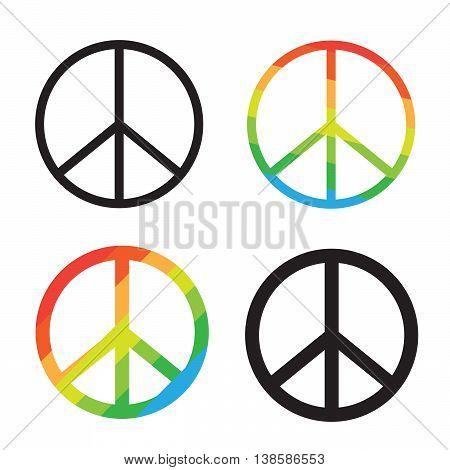 Brightness Rainbow peace symbol on white background eps10