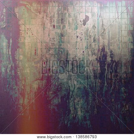 Old style design, textured grunge background with different color patterns: gray; green; blue; cyan; red (orange); purple (violet)