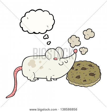 cute freehand drawn thought bubble cartoon mouse and cookie