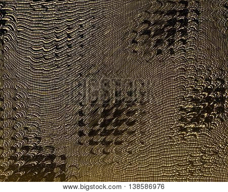 Grunge vector background with a metallic effect. Twisted golden space. Shabby torn collapsing pattern