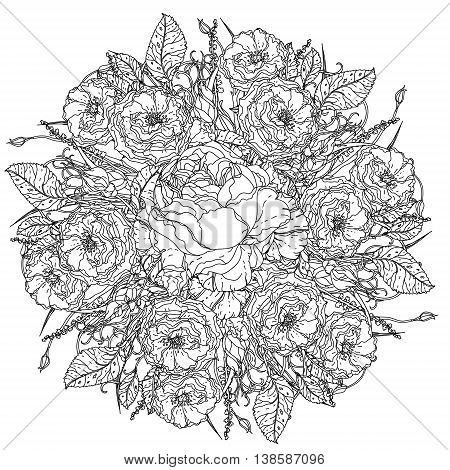 luxury flowers bouquet in shape of mandala for adult coloring book or for zen art therapy anti stress drawing. Hand-drawn, vector, uncolored detailed mandala, for coloring book, t-shirt poster design
