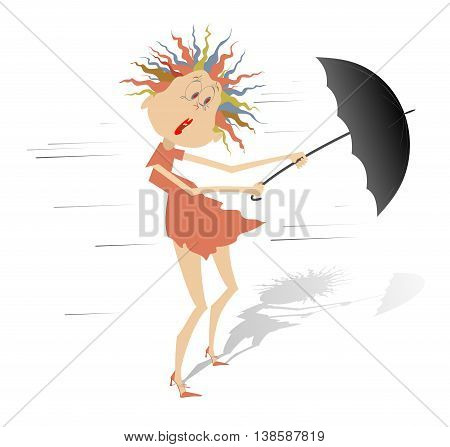 Strong wind. Woman taken up with the wind tries to keep an umbrella