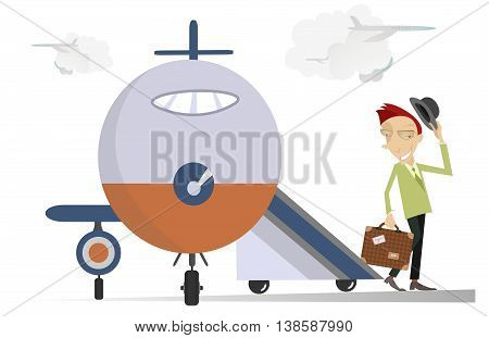 Elegant man in the airport. Smiling man with a bag gets down boarding ramp and waves by his hat