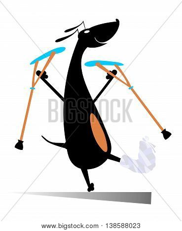 Injured dog. Comic dog with bandage and crutches