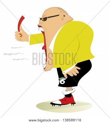 Referee. Angry referee shows a red card