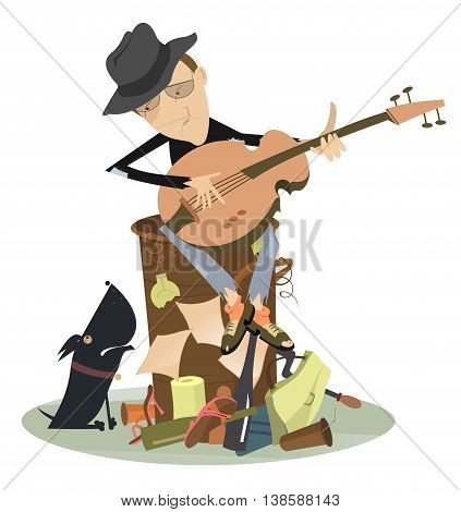 Sad blues or jazz man plays guitar. Beggar is sitting on pile of garbage and playing guitar for his dog