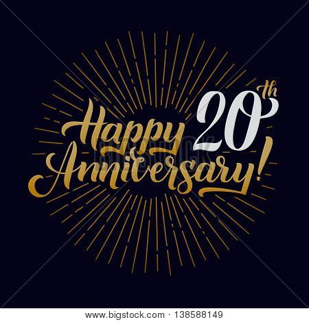 Happy Anniversary Calligraphic Background. Elegant Holiday Gold Vector Lettering Happy Anniversary Poster