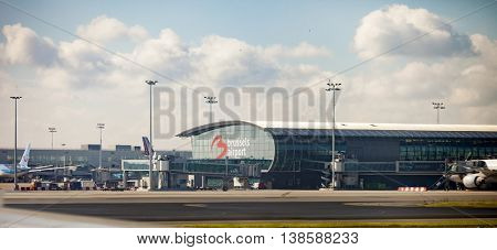 Brussels, Belgium-September 9 2014: Jets at the terminal at Brussels International Airport, Brussels, Belgium
