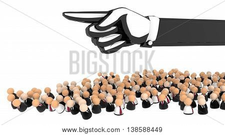 Crowd of small symbolic figures 3d illustration horizontal over white isolated
