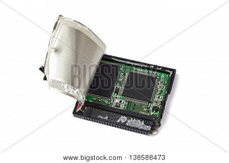 Broken CF memory card. Data loss concept