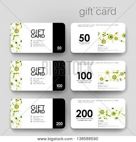 Gift coupon, discount card template with DNA molecule background. Creative layout design